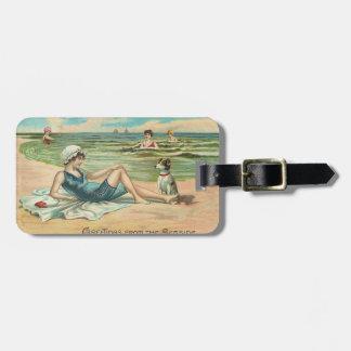 Etiqueta De Bagagem Menina do roupa de banho da praia do Victorian