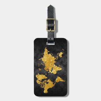 Etiqueta De Bagagem Metal preto profissional do mapa do mundo do falso