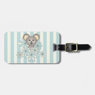 Etiqueta De Bagagem Miúdos azuis Pastel do Koala animal bonito do bebê