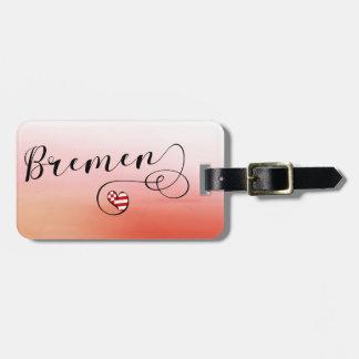 Etiqueta De Bagagem Modelo do Tag da bagagem do coração de Brema,