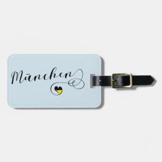 Etiqueta De Bagagem Modelo do Tag da bagagem do coração de München,