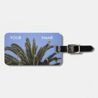 Etiqueta De Bagagem Modelo tropical das frondas da palmeira do verão