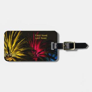 Etiqueta De Bagagem Modelo tropical preto amarelo vermelho da palmeira