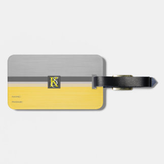 Etiqueta De Bagagem Monograma amarelo e cinzento do tom dois simples