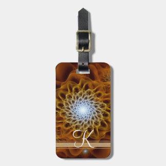 Etiqueta De Bagagem Monograma ambarino de Brown do ouro floral
