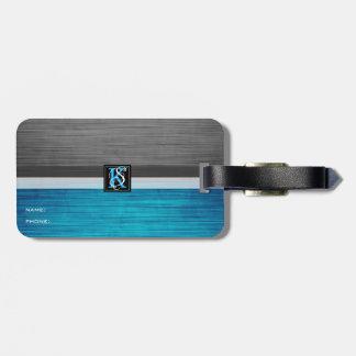 Etiqueta De Bagagem Monograma azul e cinzento do tom dois simples das