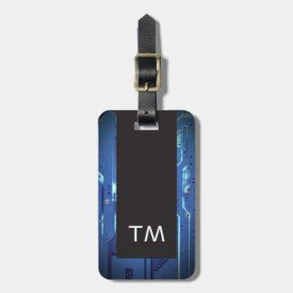 Etiqueta De Bagagem Monograma azul preto simples do conselho de
