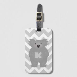 Etiqueta De Bagagem Monograma bonito do urso de Koala do bebê de