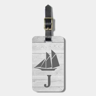 Etiqueta De Bagagem Monograma branco náutico do veleiro da madeira &