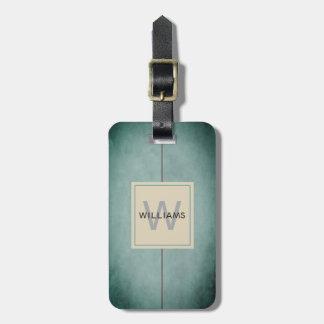 Etiqueta De Bagagem Monograma cinzento escuro azul da textura elegante