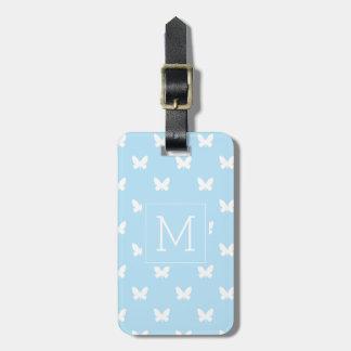 Etiqueta De Bagagem Monograma   claro - borboletas azuis