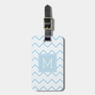 Etiqueta De Bagagem Monograma | claro - Chevron azul