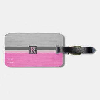 Etiqueta De Bagagem Monograma cor-de-rosa e cinzento do tom dois