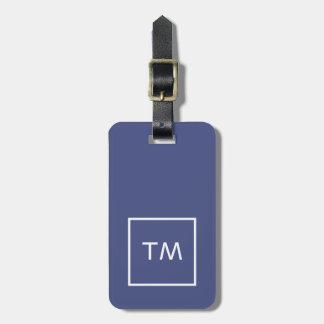 Etiqueta De Bagagem Monograma corajoso do quadro branco azul simples