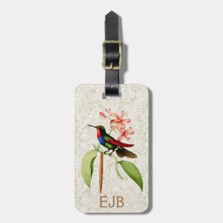 Etiqueta De Bagagem Monograma da arte do vintage do colibri da safira