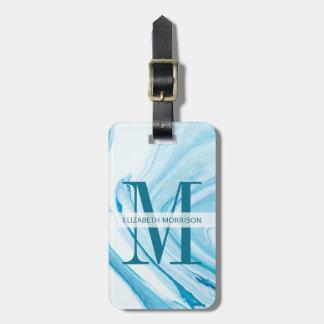 Etiqueta De Bagagem Monograma de mármore azul