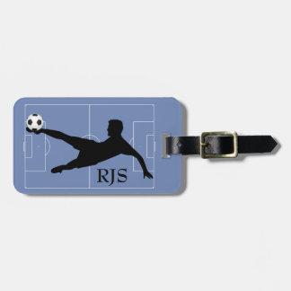Etiqueta De Bagagem Monograma do campo do jogador de futebol