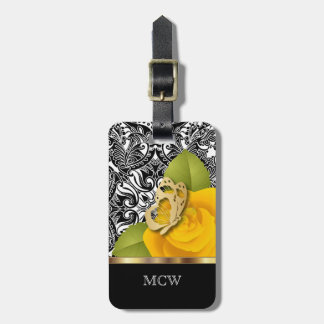Etiqueta De Bagagem Monograma do design floral   do rosa amarelo