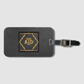 Etiqueta De Bagagem Monograma elegante do preto do art deco do ouro