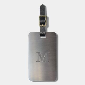 Etiqueta De Bagagem Monograma escovado moderno do olhar do metal