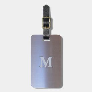 Etiqueta De Bagagem Monograma escovado moderno do olhar S01 do metal
