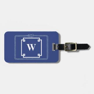 Etiqueta De Bagagem Monograma esperto azul e branco da corda náutica