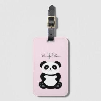 Etiqueta De Bagagem Monograma feminino bonito do urso de panda do bebê