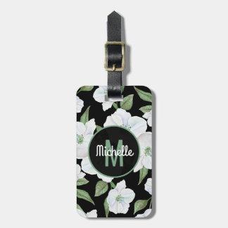 Etiqueta De Bagagem Monograma floral elegante personalizado do viagem