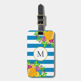 Etiqueta De Bagagem Monograma listrado branco floral corajoso do azul