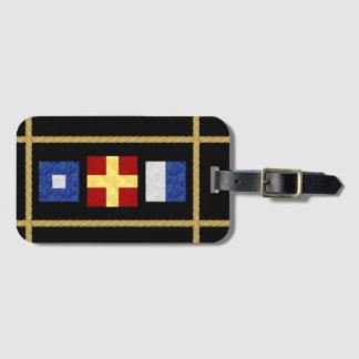 Etiqueta De Bagagem Monograma marítimo náutico da bandeira de sinal da