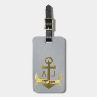 Etiqueta De Bagagem Monograma metálico das férias náuticas do cruzeiro