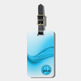 Etiqueta De Bagagem Monograma moderno das ondas do azul de oceano