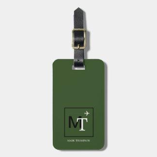 Etiqueta De Bagagem monograma moderno (nome do viajante + verde das