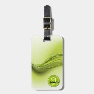 Etiqueta De Bagagem Monograma moderno verde das ondas da natureza