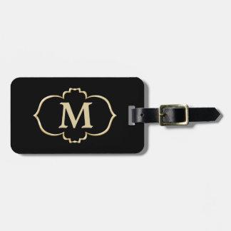 Etiqueta De Bagagem Monograma preto do quadro do ouro