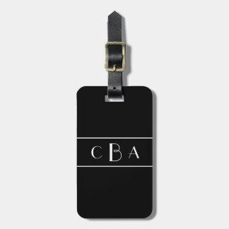 Etiqueta De Bagagem Monograma preto e branco
