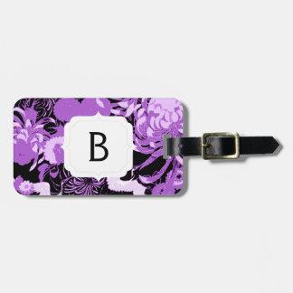 Etiqueta De Bagagem Monograma preto e roxo do vintage das flores & dos