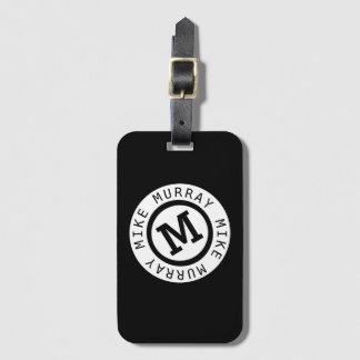 Etiqueta De Bagagem monograma preto/nome redondo & letra inicial de M