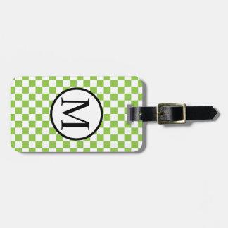 Etiqueta De Bagagem Monograma simples com o tabuleiro de damas do