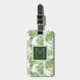 Etiqueta De Bagagem Monograma verde das folhas de palmeira |