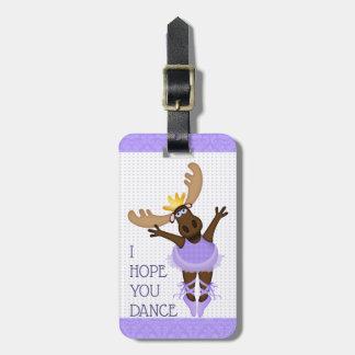 Etiqueta De Bagagem Mooserina os alces desajeitados eu espero-o dança