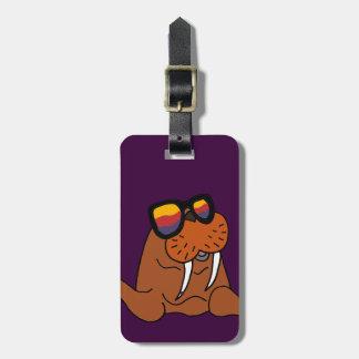 Etiqueta De Bagagem Morsa engraçada que veste óculos de sol