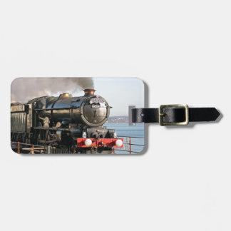 Etiqueta De Bagagem Motor de vapor do vintage do rei Edward 1 com