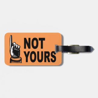 Etiqueta De Bagagem Não seu design engraçado com apontar o dedo
