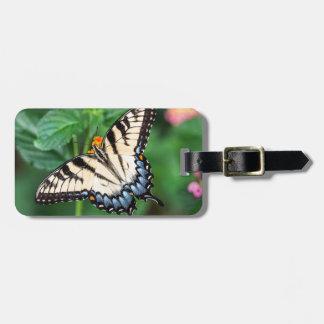 Etiqueta De Bagagem Natureza do verde da flor do verão da borboleta