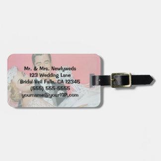 Etiqueta De Bagagem Newlyweds do casamento vintage, noiva & lua de mel