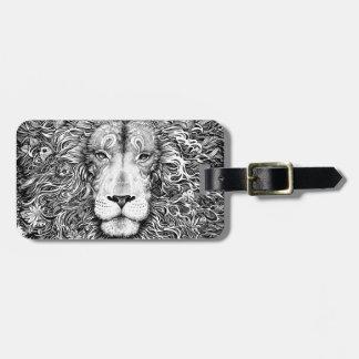 Etiqueta De Bagagem Ninho do leão preto e branco