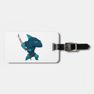 Etiqueta De Bagagem Ninja do tubarão