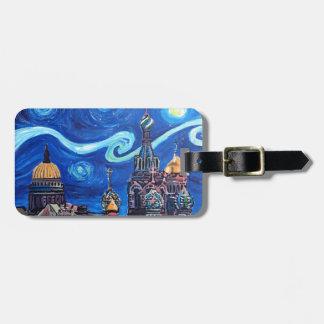 Etiqueta De Bagagem Noite estrelado em St Petersburg Rússia