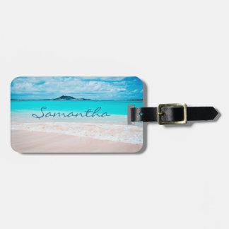 Etiqueta De Bagagem Nome azul do costume da foto do oceano & do Sandy